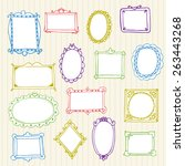 set of hand drawn frames. hand... | Shutterstock .eps vector #263443268