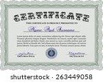 green certificate or diploma... | Shutterstock .eps vector #263449058