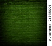Green Brick Wall With Dim Ligh...
