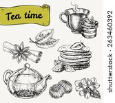 set of elements for tea time or ... | Shutterstock .eps vector #263460392