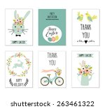 set of six easter card or... | Shutterstock .eps vector #263461322