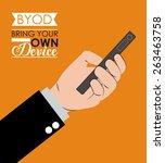 byod design over orange... | Shutterstock .eps vector #263463758