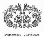 luxury flower with damask design | Shutterstock .eps vector #263469026