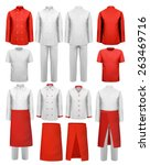 set of cook clothing   aprons ... | Shutterstock .eps vector #263469716