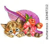 Funny Animal Kitten. Watercolor