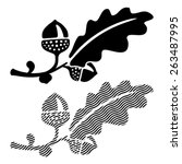 oak leaf with acorns. eps 8 ... | Shutterstock .eps vector #263487995