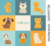 Stock vector vector pet shop logo design templates in flat cartoon style friendly cats and dogs 263495738