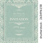 retro invitation or wedding...   Shutterstock .eps vector #263496158