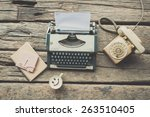 typewriter coffee and notebook... | Shutterstock . vector #263510405