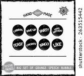 big set of grunge round speech... | Shutterstock .eps vector #263515442