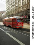 A Red Vintage Trolley In...