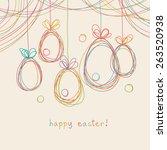 vector easter card. eggs doodle ...   Shutterstock .eps vector #263520938