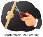 hand is cutting with scissors a ... | Shutterstock .eps vector #263525702