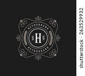 luxury logo template flourishes ...   Shutterstock .eps vector #263529932