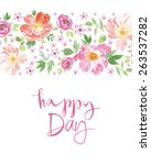 watercolor spring flowers.... | Shutterstock .eps vector #263537282