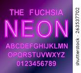 neon style vector font alphabet ... | Shutterstock .eps vector #263537702