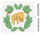 Bear Card. Vector Illustration.