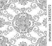 flower black and white seamless ... | Shutterstock . vector #263553272