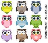 cute owls set | Shutterstock .eps vector #263555882