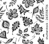 seamless pattern of vintage... | Shutterstock .eps vector #263558756