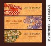 template ethnic design for card.... | Shutterstock .eps vector #263566808