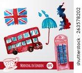 vector watercolor set of london ... | Shutterstock .eps vector #263578202