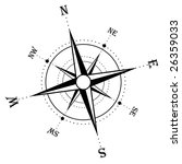 illustration of an isolated compass rose - stock photo