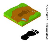 Stock vector a vector illustration of a monster track monster foot print big foot track 263594972