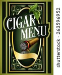 cigar menu sign list luxury... | Shutterstock .eps vector #263596952