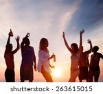 people celebration beach party... | Shutterstock . vector #263615015