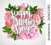 happy mothers day. card with... | Shutterstock .eps vector #263621582