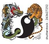 Yin Yang Symbol With Dragon An...