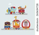 cute cartoon animals in the... | Shutterstock .eps vector #263634728
