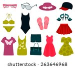 set of summer clothes and... | Shutterstock .eps vector #263646968