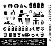 recycling bin icon set  on... | Shutterstock .eps vector #263649332