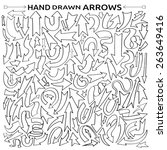 hand drawn black arrows on... | Shutterstock .eps vector #263649416