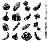 collection of vegetables set.... | Shutterstock .eps vector #263663672