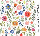floral seamless pattern ... | Shutterstock .eps vector #263672486