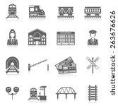 Railway Icon Set Black With...