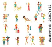 people on vacation beach party... | Shutterstock .eps vector #263676632