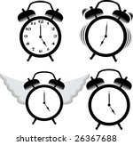 alarm clock ring and fly | Shutterstock .eps vector #26367688