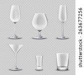 empty alcohol drinks glassware... | Shutterstock .eps vector #263677256