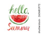 watercolor  watermelons and... | Shutterstock .eps vector #263681972