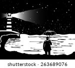 a lone man stands in front of... | Shutterstock .eps vector #263689076