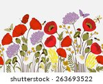 Stock vector seamless pattern with flowers and butterflies 263693522