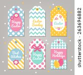set of easter gift tags with... | Shutterstock .eps vector #263696882