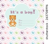 baby boy arrival card. baby... | Shutterstock .eps vector #263708996