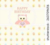 baby girl arrival card. baby... | Shutterstock .eps vector #263709656