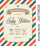 baby shower invitation in retro ... | Shutterstock .eps vector #263728028