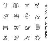 icon set of garden tools and... | Shutterstock .eps vector #263729846